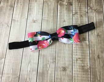 The Julia - Black White Stripes Floral Bow Headband - Newborn Infant Baby Toddler Girls Adult