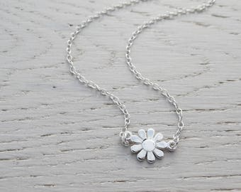 Silver Daisy Necklace, Sterling Silver