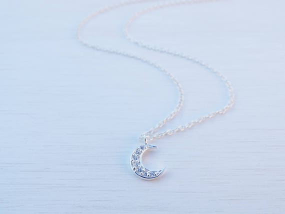 Tiny Moon Necklace, Cubic Zirconia, Sterling Silver
