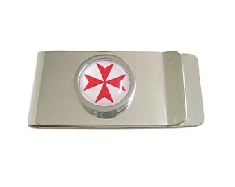 Bordered Red Maltese Cross Money Clip