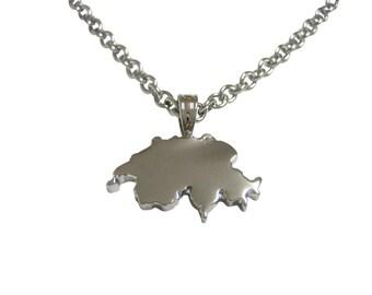 Switzerland Map Shape Pendant Necklace