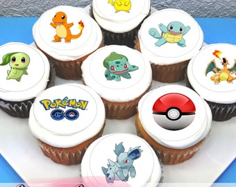 "Pokemon Go Edible Icing Cupcake Toppers - 2"" - PRE-CUT"
