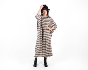 Striped Linen Cotton Gauze FREE SIZE Draped Minimal / Architectural Kaftan Loose / Relaxed Tee Dress