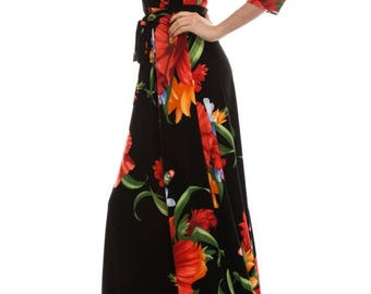 STELLA Wrap Style Dress in Black with Red Floral Print