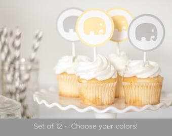 Set of 12 Elephant Cupcake Toppers, Elephant Baby Shower, Baby shower Decorations - Customize Colors