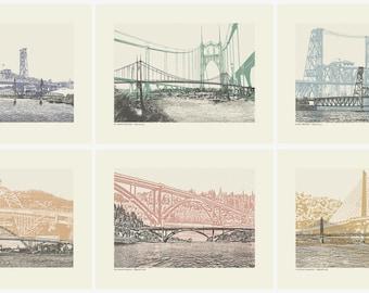 Portland Art // Color Bridge Art prints // All 12 City Bridges // Art Print // Wall art // Oregon Art // Bridgetown // 8.5x 11 Bridge Series