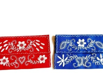1 Lovely German Vintage Rustic Embroidered Handkerchief Tissure Pouch Bag - Red OR Blue Colour