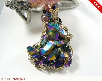 AURORA CRYSTAL Wire Wrapped Pendant, Titanium infused Arkansas crystal. (W52861)