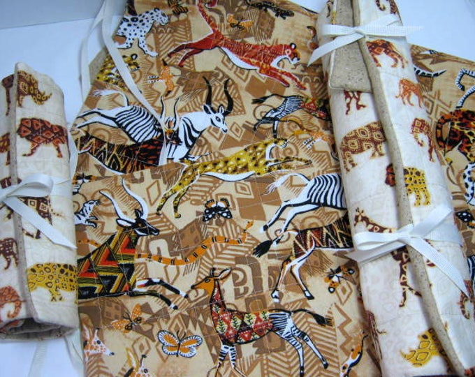 African Animals Knitting Crochet Quilted Needle Rolls Set, JDCreativeHands
