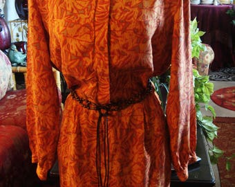Vintage 1970s Boho Chic Red, Yellow  and Gray Multi Colored Dress