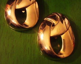 Vintage 1980s Gold Knot Clip Earrings