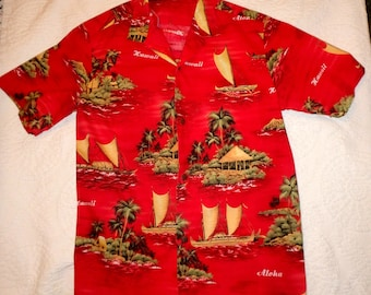 Bright Red Hawaiian Shirt Size Large
