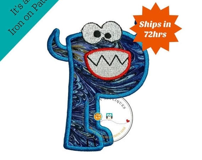 ON SALE NOW Monster letter P applique, initial embroidered patch, bright iron on applique letter, iron on letter embellishment, iron on mono