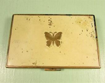 Vanderbilt Powder Rouge Compact - Vintage Lucretia Butterfly Rectangle