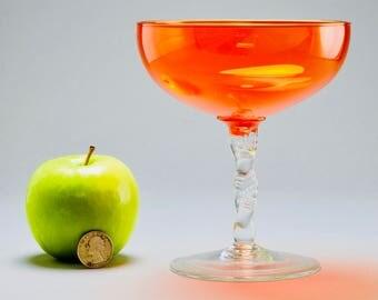 Vintage Italian Empoli Orange & Clear Glass Pedestal Vase