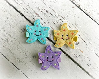 Starfish Hair clip Cute Sea Creature Embroidered Felt Hair Clips Pick one or two. Pick Left side or Right.