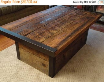 Limited Time Sale 10% OFF Custom Industrial Coffee Table with Usable Trunk / Chest Base