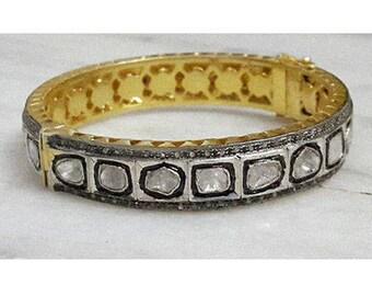 SALE/Pave Diamond Bangle, Pave Rose Cut Bangle, Diamond Rose Cut Bangle, Pave Polki Diamond Bracelet, Pave Diamond Bangle, Polki