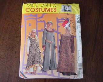VINTAGE 1990s McCalls Costume Pattern 8826, Misses Medieval Costumes, Gown, Multi Size 12-14-16,  Uncut