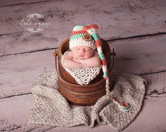 Mint and Coral | Hat with Braid | Coral | Mint | Newborn Elf Hat | Stocking Hat | Stocking Cap | Long Tail Hat | Newborn Hat | Striped Hat