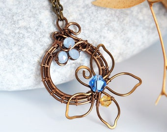 Flower Wire wrapped pendant Nature jewelry Anniversary gift for women Christmas gifts Handmade jewelry Circle Geometric light blue leafy
