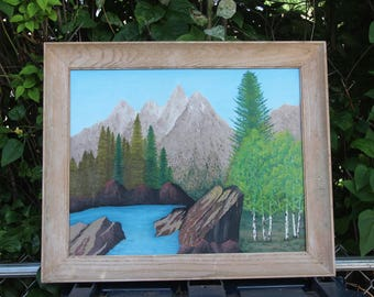 The Teton's Oil Painting Wyoming Framed Mountains Lake Landscape Vintage Original Art George E. Klake 1968