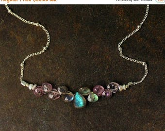 20% off. Pink Spinel and Labradorite Necklace. Bridesmaid Gift. Briolette Bar Necklaces.  Multi Gemstone Necklaces.  N2397