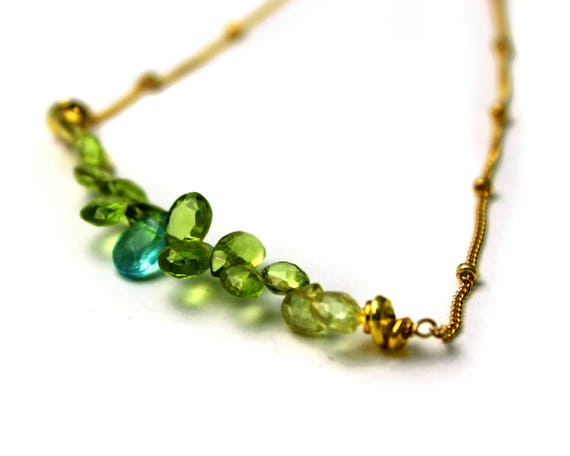 Bridesmaid Gifts. Wedding Color Matching. Bar Necklace. Apatite and Peridot Necklace, Multi Gemstone Necklace. NM-2189-4