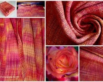 Handwoven Baby Wrap, Bourette Silk / Cotton, Size 6, ( 69 X 460 cm), Unique piece