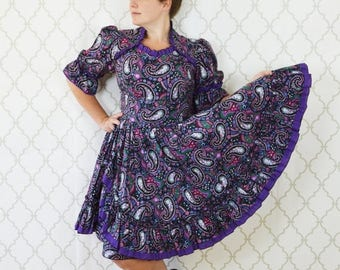 SUMMER SALE Vintage 60's Purple Paisley Square Dance Dress -  Frilly Country Dress - Ruffle Full Skirt Cotton Party Cowgirl Dress - ladies s