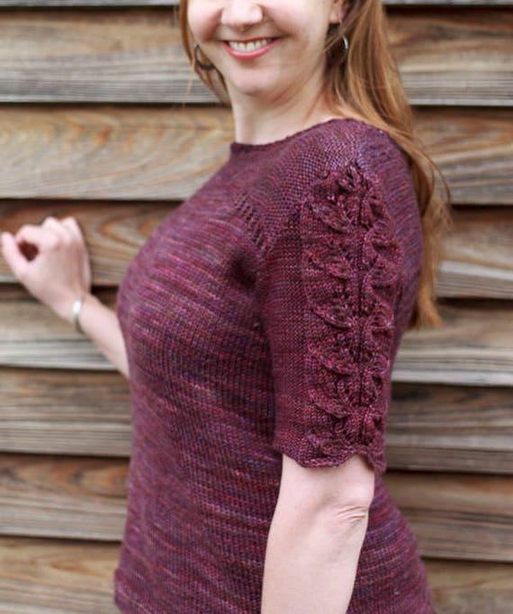 Prairie Tee Knitting Pattern / Sweater Knitting Pattern / DK Weight Lace Sweater Knitting Pattern