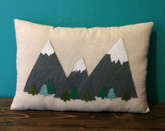 "12"" x 18"" Natural Cotton Pillow w/ Mountain & Tree Appliques-The Mountains Are Calling-Woodland/Hiking/Outdoors--Home/Cabin/Nursery Decor"