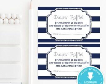 Navy & Silver Baby Shower Diaper Raffle Ticket - Silver Glitter Baby Shower - Silver Glitter Printable - Boy Baby Shower Printable