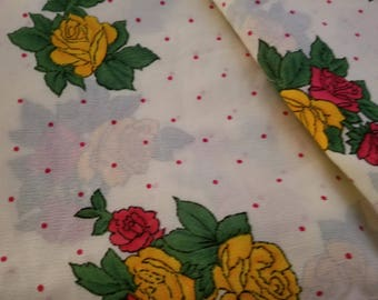 """Pretty fabric piece yellow red  roses flower print with red dots. measures app., 42"""" X 70"""""""