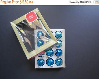ON SALE Shiny Brite Ornaments Set // Vintage Mid Century Blue Glass Mismatched Turquoise Aqua Christmas Holiday Decorations Set of 12 More A