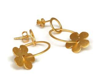 Large Gold Hoops, Hoop Post Earrings, Gypsy Hoop  Earrings, Flower Hoops Boho Hoops   Artisan Handmade  by Sheri Beryl