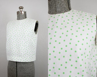 1950's Green and White Polka Dot Cropped Top / Size Small Medium