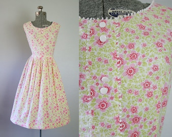 1950's Pink and Green Floral Mode O'Day Day Dress / Size Large