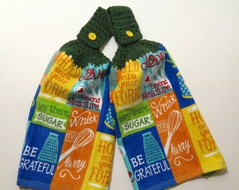 Hold Onto Your Fork Crochet Top Kitchen Hand Towel Set of 2