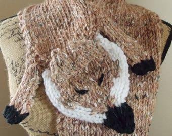 Knit Fox Scarf hand knit from peach tweed alpaca silk blend, fox scarf knit from luxury yarn, knit silk shrug,  alpaca collar wrap