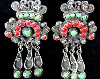 """Mexico City Artist """"Dominguez"""" (JGD) ~1940's Matl (Matilde Poulat) Style Coral~Turquoise 925 Screw Back Earrings"""