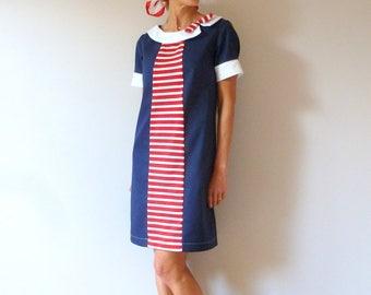 Nautical cotton dress with white collar