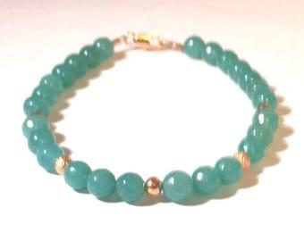 Green Jade Gemstone and Rose Gold Plated Beaded Bracelet Gift for her