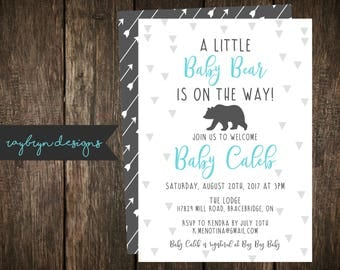 A little baby bear is on the way! | Baby Shower Invitation | Bear Theme Invite | Baby Boy | Arrow Detail | Printable file.