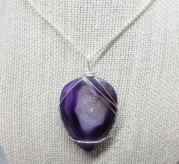 Purple Indigo Fancy Druzy Quartz Wire Wrapped Pendant