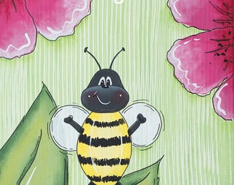 Bumble Bee And Flowers Print Floral Wall Art Girls Room