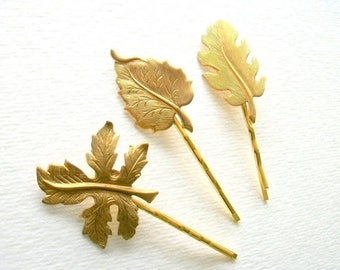 SUMMER SALE Gold Toned Bobby Pin Set Nature Leaf Hair Pin Set of Three Gold Toned Bobby Pins Simple Natural Vintage Style Woodland Themed Ru
