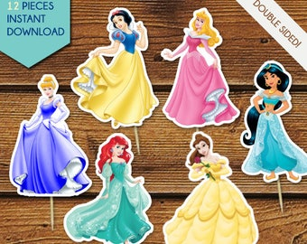 Disney Princess Cupcake Toppers, Disney Princess Centerpieces, Disney Princess Cake Toppers, Ariel, Belle, Cinderella, Jasmine, Aurora