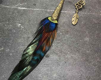 Multicolored Cosmo Bronze Feather Earrings