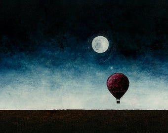 "Art oil painting // Hot air balloon - moonlight // ""Don't wait up""."